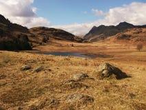 De herfstlandschap, langdale, cumbria, voorgrondrotsen stock foto