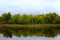 De herfstlandschap met bos en rivier met de bezinning van het bos de blauwe hemel stock afbeelding