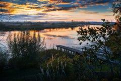 De herfstlandschap met brug Stock Foto