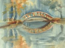 De herfstlandschap met een brug onder de vijver Regenachtige waterverf vector illustratie