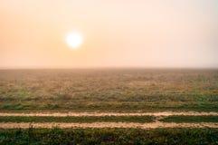 De herfstlandschap met ochtendmist in Centraal Rusland stock foto