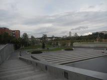 De herfstlandschap in september in Madrid in Spanje Stock Afbeelding