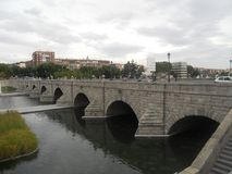 De herfstlandschap in september in Madrid in Spanje Stock Foto