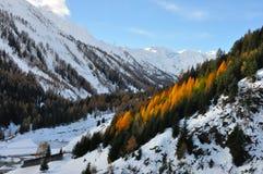 De herfstlandschap van alpen Stock Afbeelding