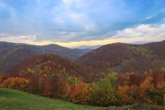 De herfstlandschap van de heuvel Stock Foto