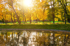 De herfstlandschap van zonnig die de herfstpark door de zonneschijn-herfst park met de herfstbomen en vijver in zacht licht wordt Royalty-vrije Stock Foto