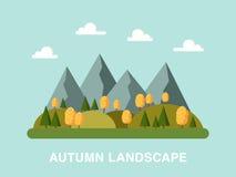 De herfstlandschap in vlakke stijl rechthoekige samenstelling die wordt gemaakt stock illustratie