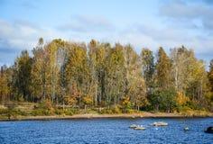 De herfstlandschap in Vyborg, Rusland Stock Foto