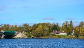 De herfstlandschap in Vyborg, Rusland Stock Afbeelding