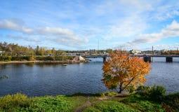 De herfstlandschap in Vyborg, Rusland Stock Fotografie