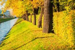 De herfstlandschap - Zwaankanaal in St. Petersburg en de herfstpark met gouden de herfstbomen in zonnig weer Royalty-vrije Stock Foto
