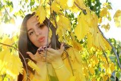 De herfstmeisje in openlucht Stock Fotografie