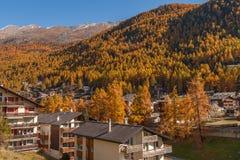 De herfstmening van Zermatt-toevlucht, Valais Royalty-vrije Stock Fotografie