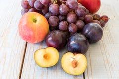 De herfstoogst met druiven, pruimen, appelen Royalty-vrije Stock Fotografie