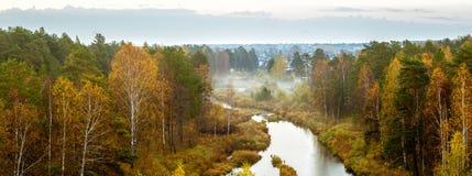 De herfstpanorama van de mist van de ochtend bosrivier, Stock Foto