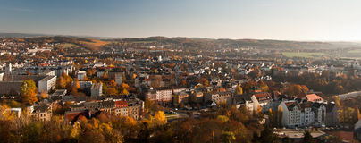 De herfstpanorama van Plauen-stad in Saksen Royalty-vrije Stock Fotografie