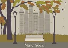 De herfstpark. New York. Royalty-vrije Stock Foto's