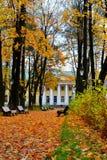 De herfstpark voor een gebouw met kolommen Royalty-vrije Stock Foto