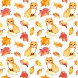 De herfstpatroon - leuke vos dierlijke, rode bladeren Naadloze waterverf Stock Foto's