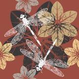 De herfstpatroon met bloemen en libel Stock Foto