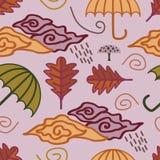 De herfstpatroon met kinderachtige tekening Royalty-vrije Stock Foto's