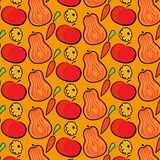 De herfstpatroon met pompoenen, appelen en wortelen Hand getrokken vectorillustratie royalty-vrije illustratie