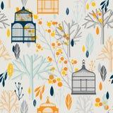 De herfstpatroon met uitstekende birdcages in retro Stock Afbeeldingen