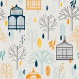 De herfstpatroon met uitstekende birdcages in retro Stock Foto