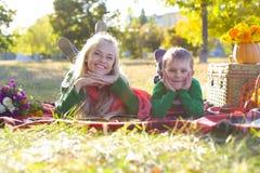De herfstpicknick Stock Foto's