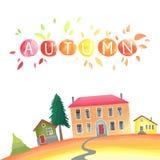 De herfstplatteland Illustratie met huizen, seizoengebonden bomen, dalingsbladeren royalty-vrije illustratie