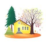 De herfstplatteland Illustratie met rustiek huis, seizoengebonden bomen, dalingsbladeren royalty-vrije illustratie