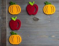 De herfstpompoen en appel Stock Afbeelding