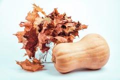 De herfstpompoen met bladerenboeket stock foto