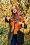 De herfstportret, jong mooi meisje met lang haar in Russische sjaal en geel gebladerte stock fotografie