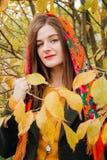 De herfstportret, jong mooi meisje met lang haar in Russische sjaal en geel gebladerte stock foto's