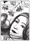 De herfstportret van een meisje Zwart-witte illustratie Royalty-vrije Stock Afbeelding