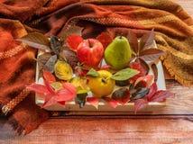 De de herfstsamenstelling, de kleurrijke bladeren, de appel, de peer en de kweepeer streven na royalty-vrije stock foto's