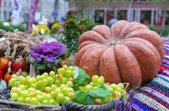 De herfstsamenstelling met pompoen, druiven en andere groenten royalty-vrije stock afbeeldingen