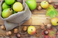 De herfstsamenstelling van vruchten, noten en kruiden - Stock Afbeeldingen