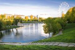 De herfstschoonheid van het stadspark Stock Afbeeldingen