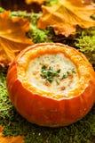 De herfstsoep met pompoen Royalty-vrije Stock Afbeeldingen