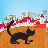 De herfststad en kat van Fairytale Royalty-vrije Stock Afbeeldingen