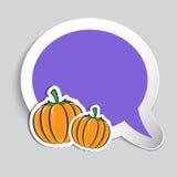 De herfststicker met pompoenen Stock Fotografie