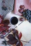 De herfststilleven in de kleuren van Bourgondië De herfst of de winterconcept, levensstijlblogers stock foto's