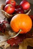 De herfststilleven met appelen en pompoenen Stock Afbeelding