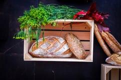 De herfststilleven met brood en groenten royalty-vrije stock afbeeldingen