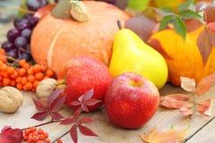 De herfststilleven met fruit, groenten, bessen en noten Royalty-vrije Stock Foto's