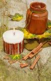 De herfststilleven op houten achtergrond voor Dankzegging Stock Foto's