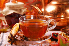 De herfstthee met kruiden en honing Stock Afbeelding