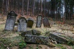 De herfsttijd in de oude Joodse begraafplaats Royalty-vrije Stock Afbeelding